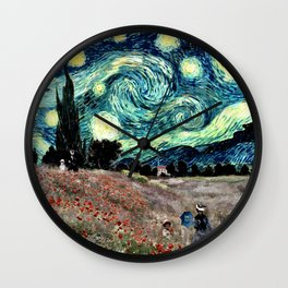 Monet's Poppies with Van Gogh's Starry Night Sky Wall Clock