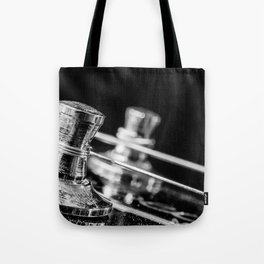 In Tune close up electric guitar tuning post and string Tote Bag
