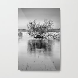 """Peace at the lake"". Dream sunset. Monochrome Metal Print"