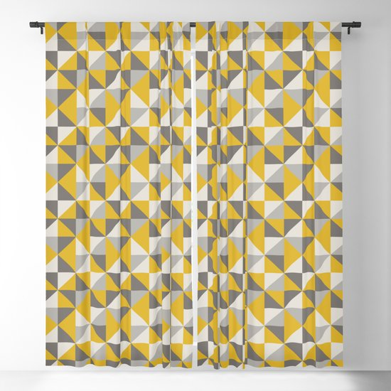 Retro Triangle Pattern in Yellow and Grey by latheandquill