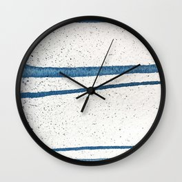 Parallel Universe [horizontal]: a pretty, minimal, abstract piece in lines of vibrant blue and white Wall Clock