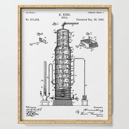 Whisky Patent - Whisky Still Art - Black And White Serving Tray