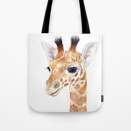 Baby Giraffe Cute Animal Watercolor Tote Bag
