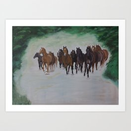 Herd of horses in canter Art Print