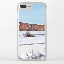 Perce Rock in the Snow Clear iPhone Case