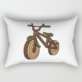 Nature Bicycle | Wooden Earth Day Illustration Rectangular Pillow
