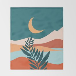 Moonlit Mediterranean / Maximal Mountain Landscape Throw Blanket