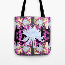 Black & Grey  Decorative Modern White Mums Patterns Flowers Tote Bag