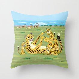 Cheetahs and Gazelles Throw Pillow