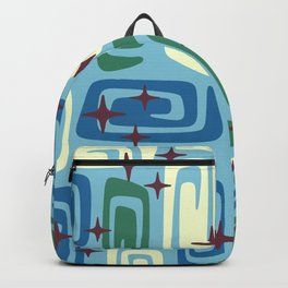Mid Century Modern Cosmic Galaxies 728 Blue Green and Cream Backpack