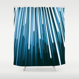 Hyperspace Fiber Optics Blue white Streaks Of Light Shower Curtain