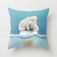 ice Throw Pillows featuring polar ice cream cap 02 by Vin Zzep
