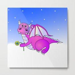 Cute Flying Purple Dragon Holding Flower Metal Print