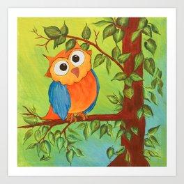 Whimsical Owl Art Print
