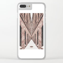 walkway in the middle of the brown brick buildings Clear iPhone Case