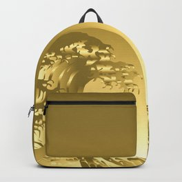 Gold Hokusai Great Wave Backpack