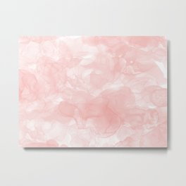 Blush Pink Smoke Abstract Metal Print