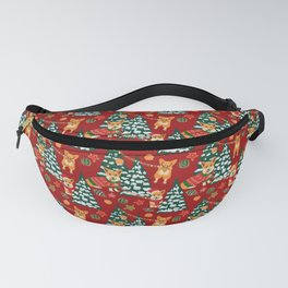 Corgis decorate the christmas tree - red pattern Fanny Pack