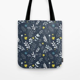 Floral Pattern 1 - Blue Tote Bag
