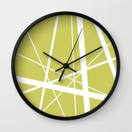 Mikado pattern graphic lines pastel yellow Wall Clock