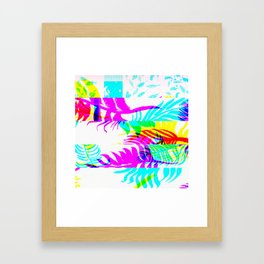 Glitch botany palm leaves set and summer jungle watercolor palm. Framed Art Print