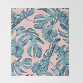 Island Life Teal on Light Pink Throw Blanket