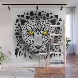 White Leopard with Yellow Eyes Wall Mural