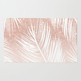 Modern trendy white palm tree leaf pattern on rose gold glitter blush pink Rug