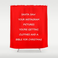 instagram Shower Curtains featuring Christmas - Instagram by Rothko