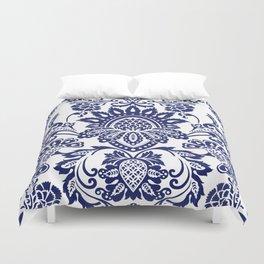 damask blue and white Duvet Cover