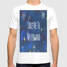 Take Me To Neverland   Galaxy MEDIUM Mens Fitted Tee White