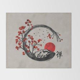 Zen Enso Circle and Sakura Branches Throw Blanket