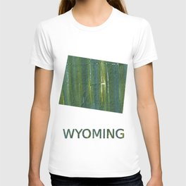Wyoming map outline Deep moss green watercolor T-shirt