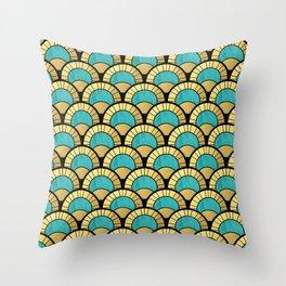 Duck Egg Green Art Deco Fan Pattern Throw Pillow