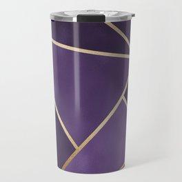 Beautiful Amethyst Gold Geometry Art Travel Mug