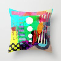 good vibes Throw Pillows featuring Good Vibes by Lynsey Ledray