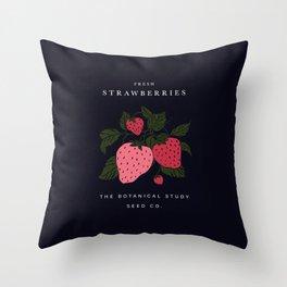 Fresh strawberries seed illustration Throw Pillow
