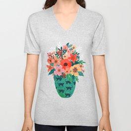 Jar with flowers, cute floral bouquet Unisex V-Neck