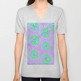 Dayglow Aqua Petal Rose Unisex V-Neck
