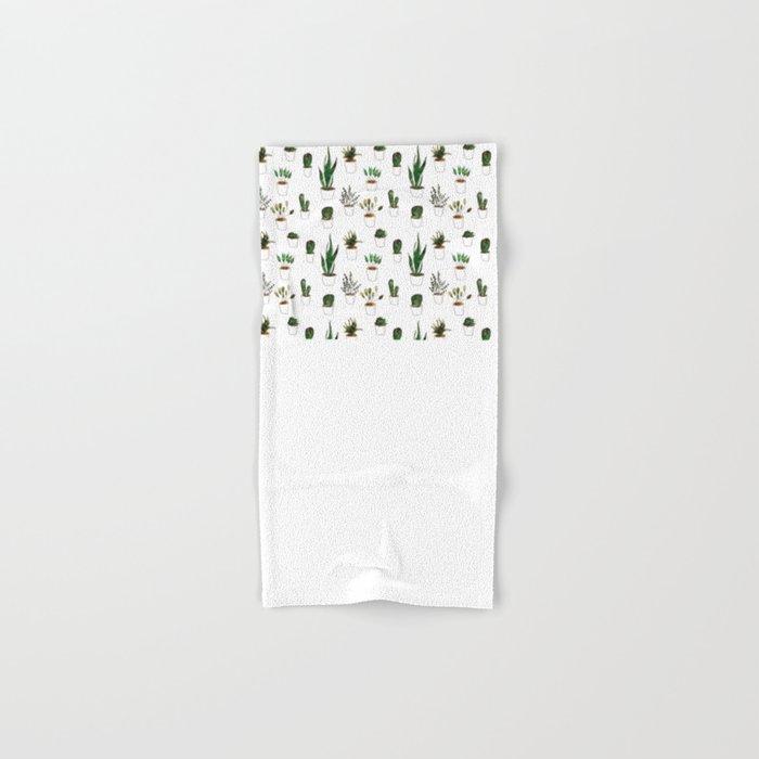 Green plants in white pots Hand & Bath Towel