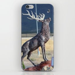 Bird Flying From Stag Deer Statue iPhone Skin