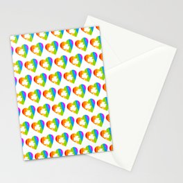 St. Patricks Day: Rainbow Hearts With Shamrocks Stationery Cards