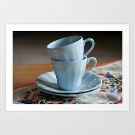 Vintage J & G Meakin Celeste espresso cups Art Print