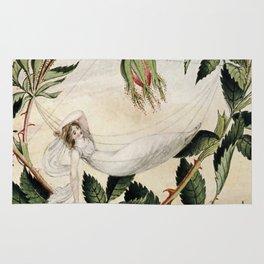 """A Fairy Resting in a Hammock"" by Amelia Jane Murray Rug"