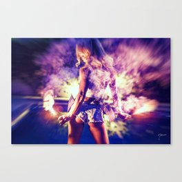 9366 Sexy Blonde Girl Fireworks Canvas Print