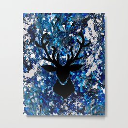 Stags Head on Blue, White, and Black Fluid Wax Metal Print