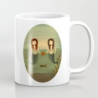 pisces Mugs featuring Pisces by The Midnight Rabbit