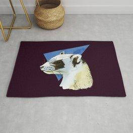 Cute ferret art - aesthetic polecat - wildlife design - albino ferret art - albino - Aubergine decor Rug