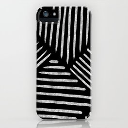Lines and Patterns in Black and White Brush iPhone Case