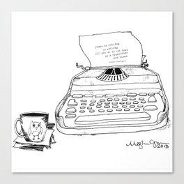 Earnest Hemingway Writing on Typewriter Canvas Print